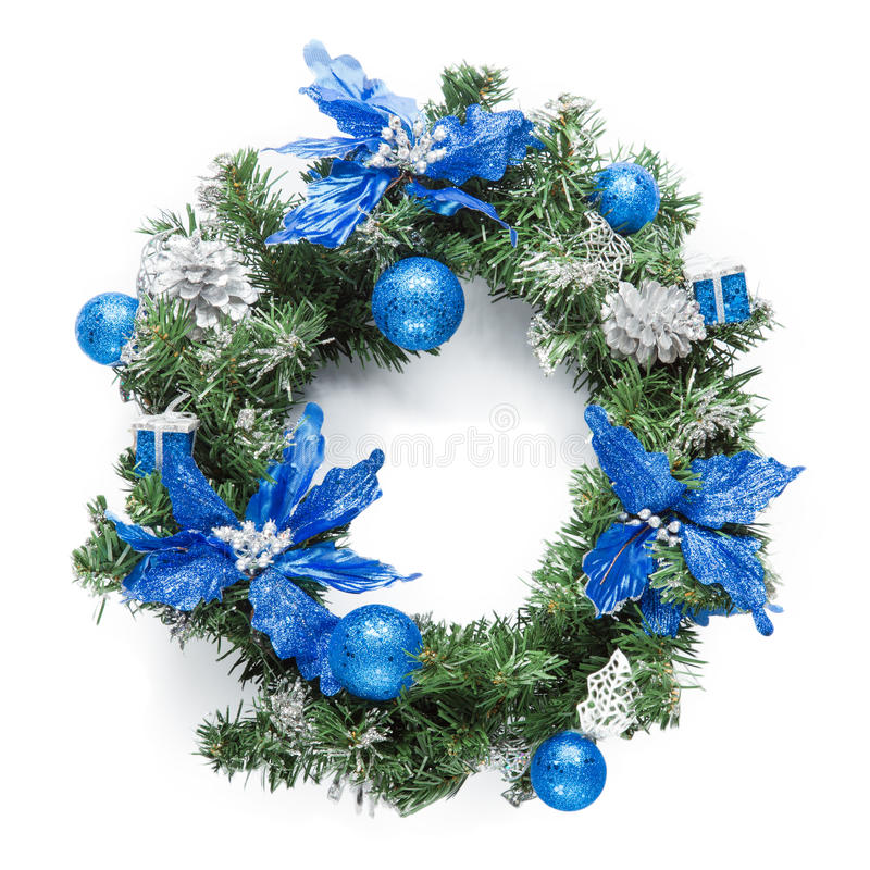Christmas blue wreath isolated on white stock images