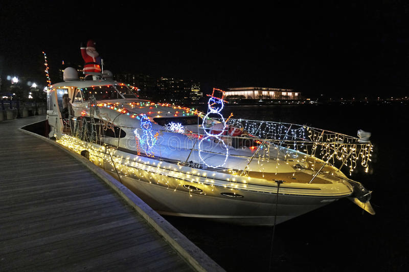 Christmas Boat in Georgetown stock images