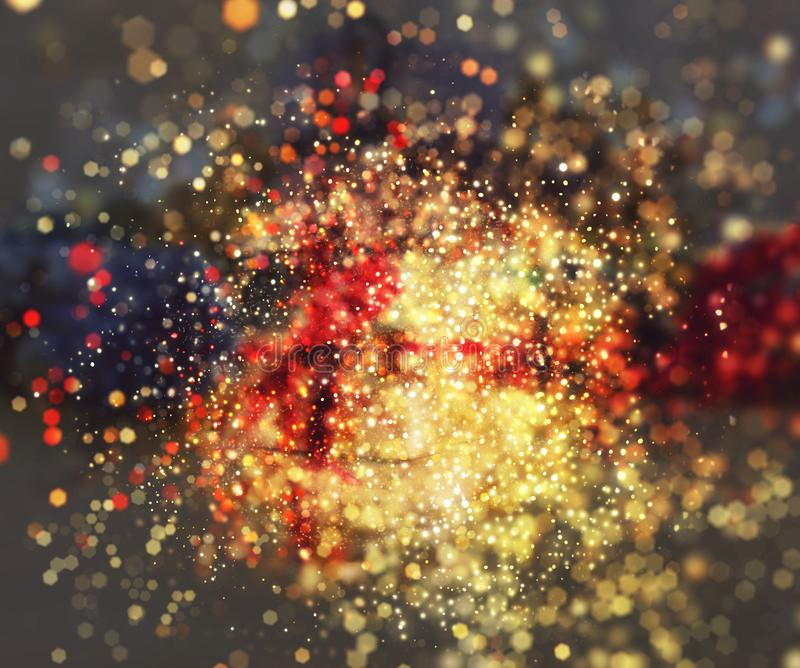 Christmas bokeh lights background stock images