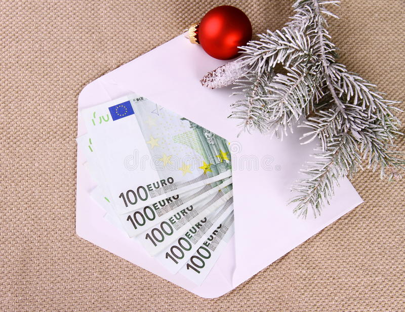 Christmas bonus as five hundred euro money in envelope royalty free stock photography