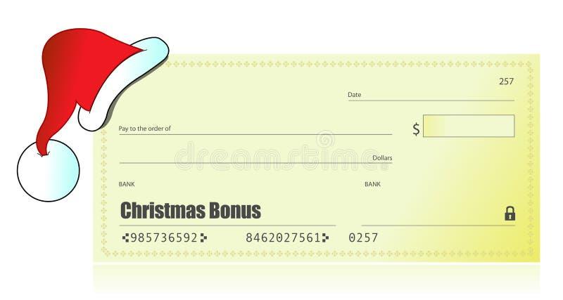 Christmas bonus check illustration stock illustration