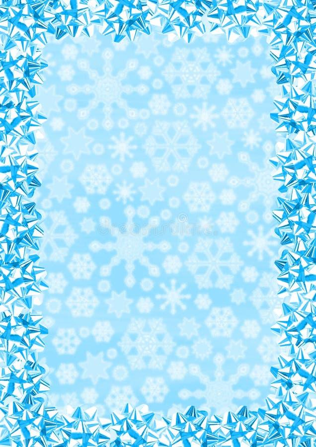 Christmas Border. (Blue Gift Bows On Snowflakes Background