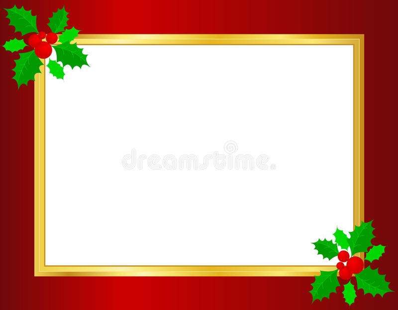 Christmas border. / background with holly leaves , berries and golden ribbons