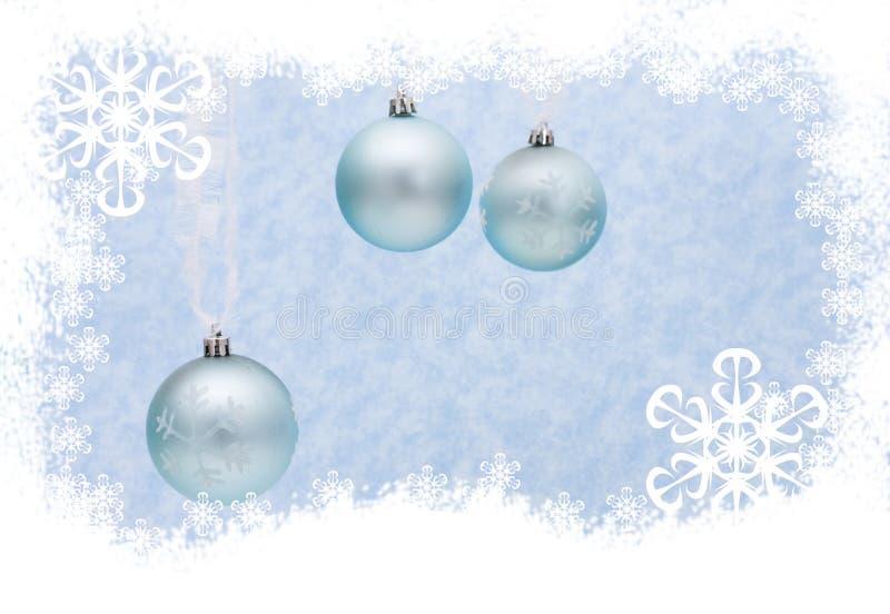 Christmas Border. A snowflake border with hanging Christmas ornaments, Christmas Border royalty free stock photography