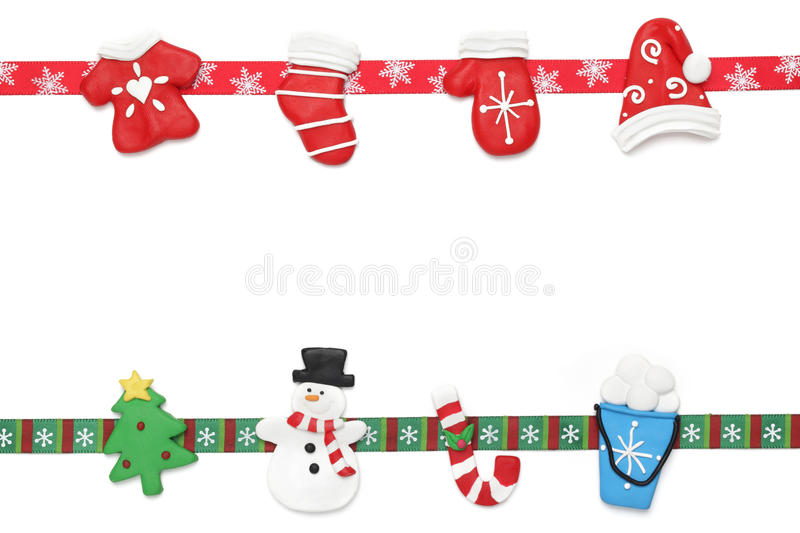 Christmas border. Christmas ornaments with ribbon for use as border stock images