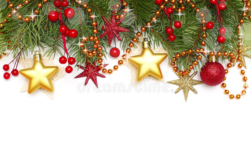 Christmas border. Decoration on white background stock photos