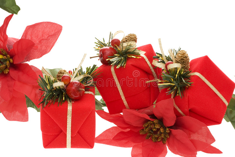 Christmas Border. Christmas present and poinsettia border royalty free stock images
