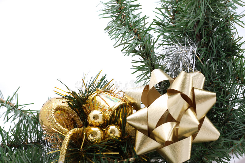 Christmas border. With golden ornaments royalty free stock photography