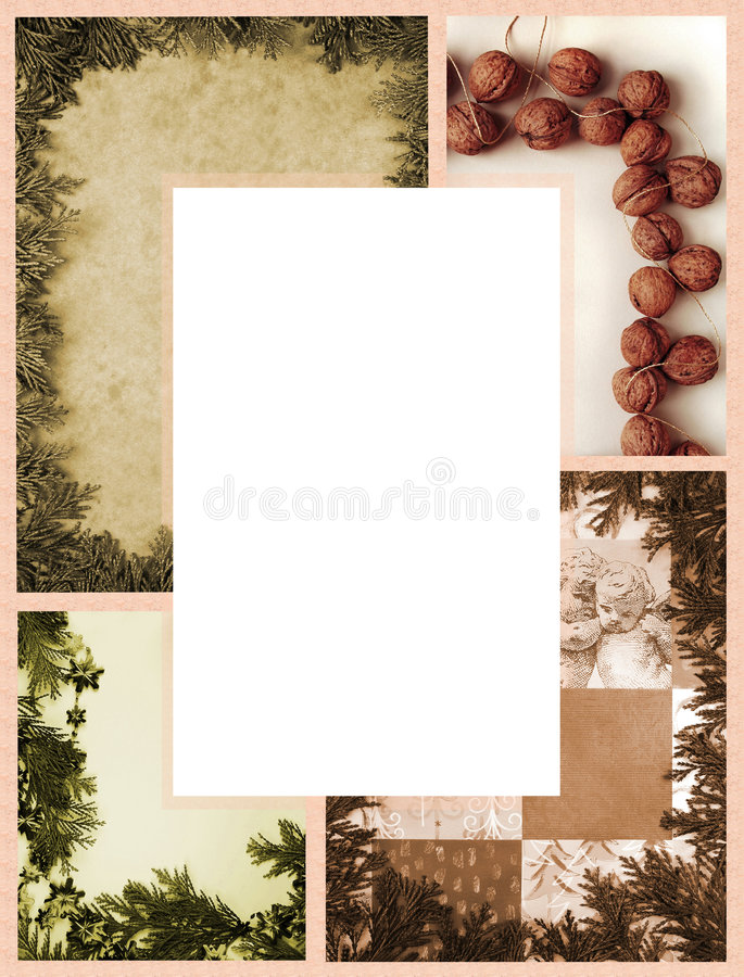 Christmas border. Christmas photocomposition as frame in vintage style royalty free stock photo