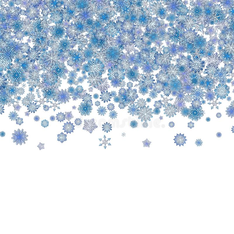Christmas border background with blue snowflakes stock illustration