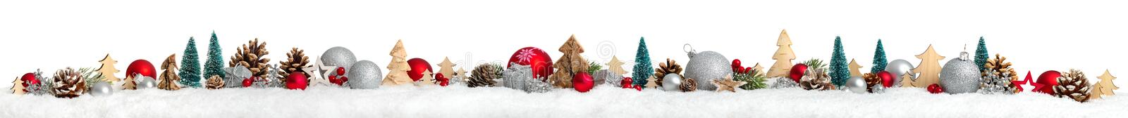 Christmas border or banner, extra wide, white background stock photography