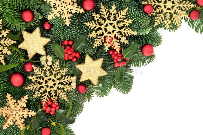 Christmas Border with Bauble Decorations & Greenery royalty free stock photos