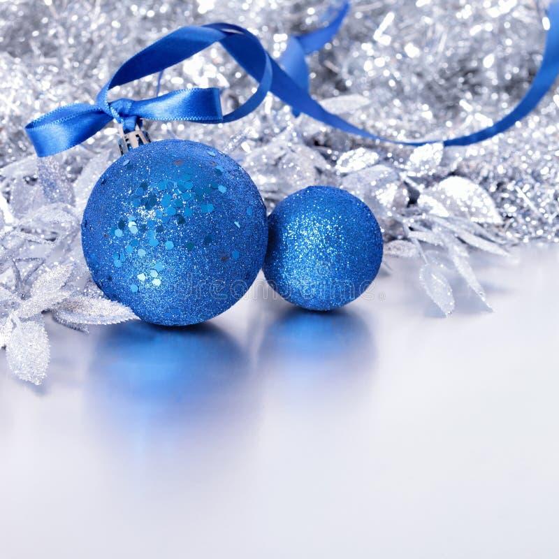 Blue Silver Christmas Balls Stock Image Image Of White