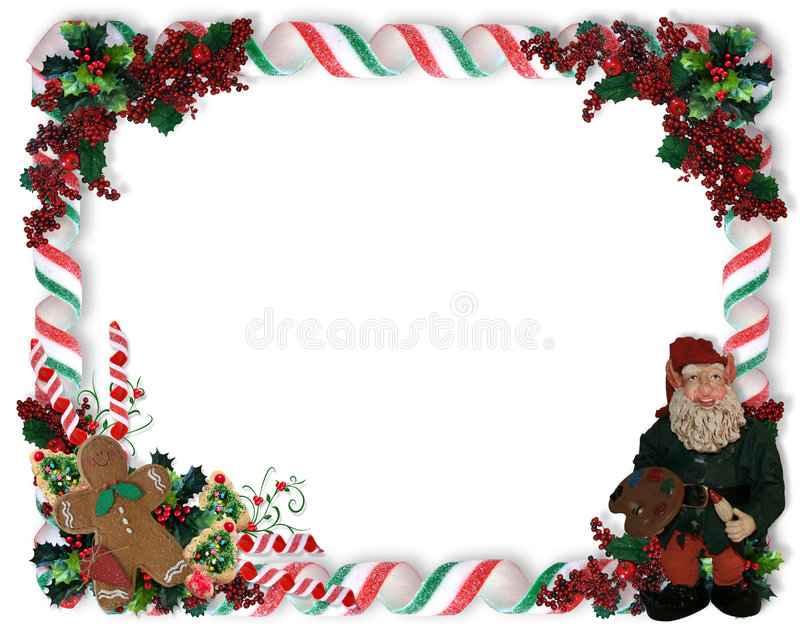 Christmas Border candy and elf stock illustration