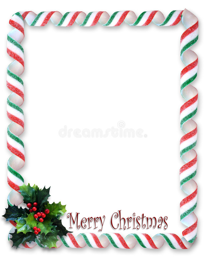 Christmas Border Candy Ribbon And Holly Frame Royalty Free Stock Photo