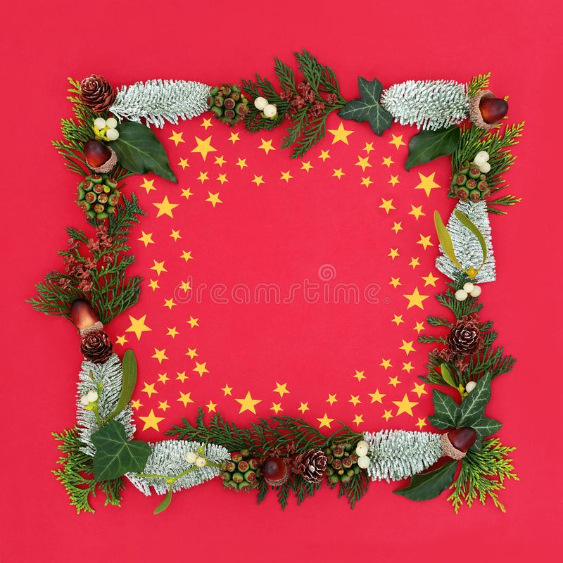 Christmas Border. With gold star decorations, snow covered spruce fir, mistletoe, acorns, cedar leaves and ivy on red background with copy space stock photos
