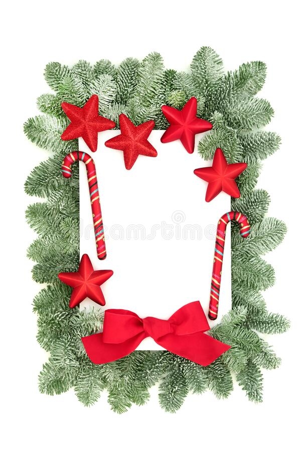 Christmas Border Composition with Fir and Bauble Decorations stock photography