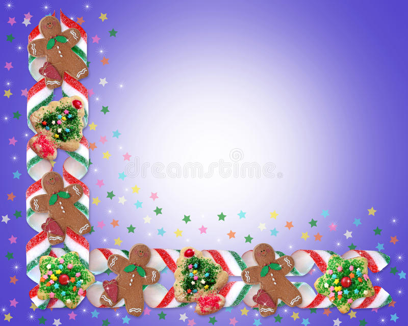 Christmas Border Cookies and Candy stock illustration