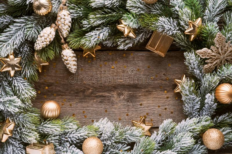Christmas border with copy space, festive background stock images