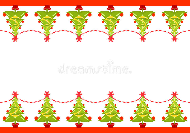 Christmas border with decorated trees stock illustration