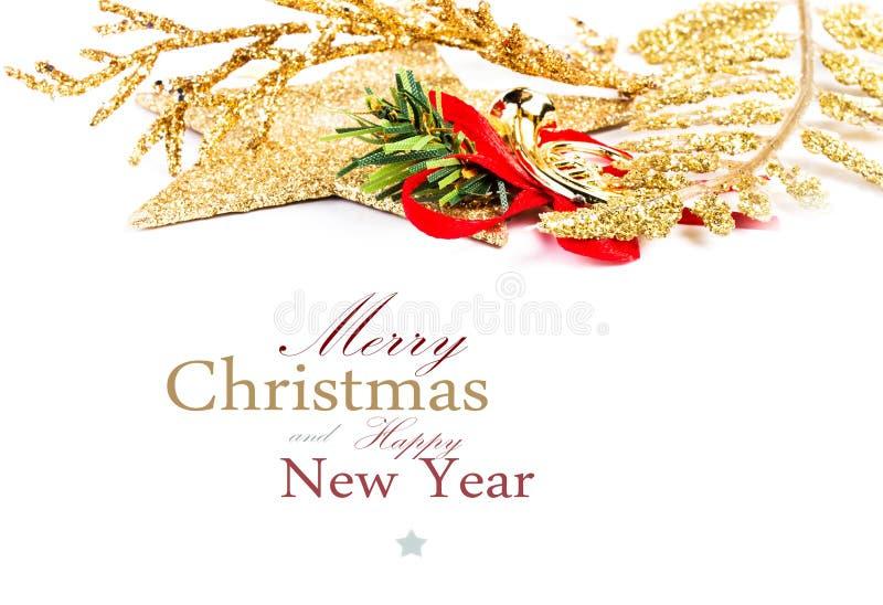 Christmas Border Decoration Isolated On White Background. Festiv Royalty Free Stock Photos