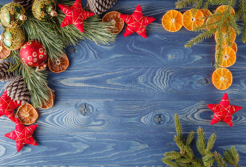 Christmas border with decorations on wooden rustic background. H. Appy new year stock image