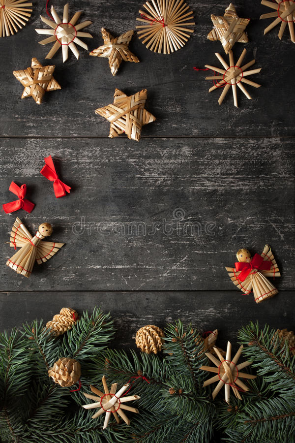 Christmas border design on the wooden background royalty free stock image