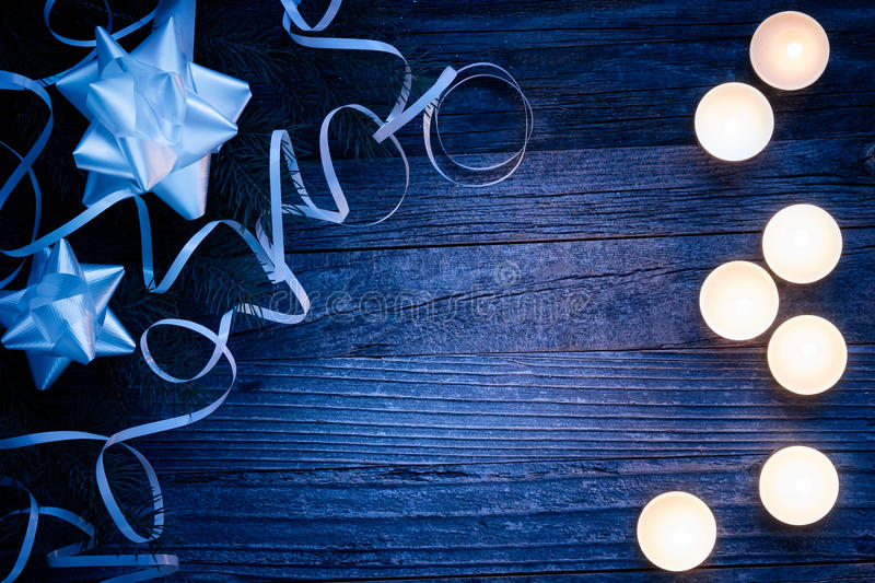 Christmas Border Design on a Wooden Board stock photography