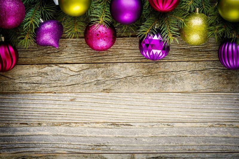 Christmas Border Design on a Wooden Board stock photos