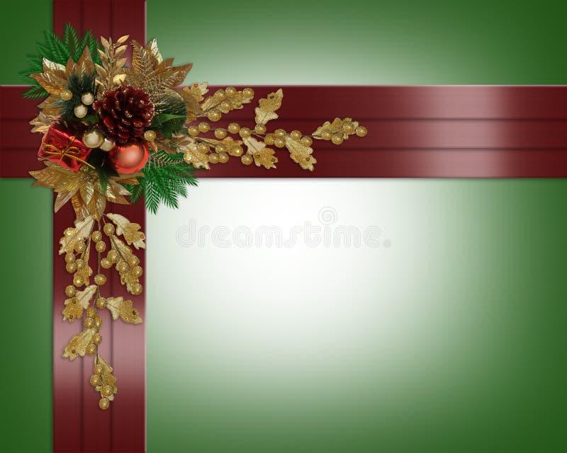 Christmas border elegant red ribbons royalty free stock photos