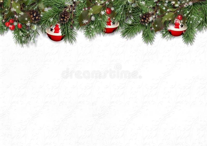 Christmas border with fir branches, holly and cones оn white royalty free stock photography