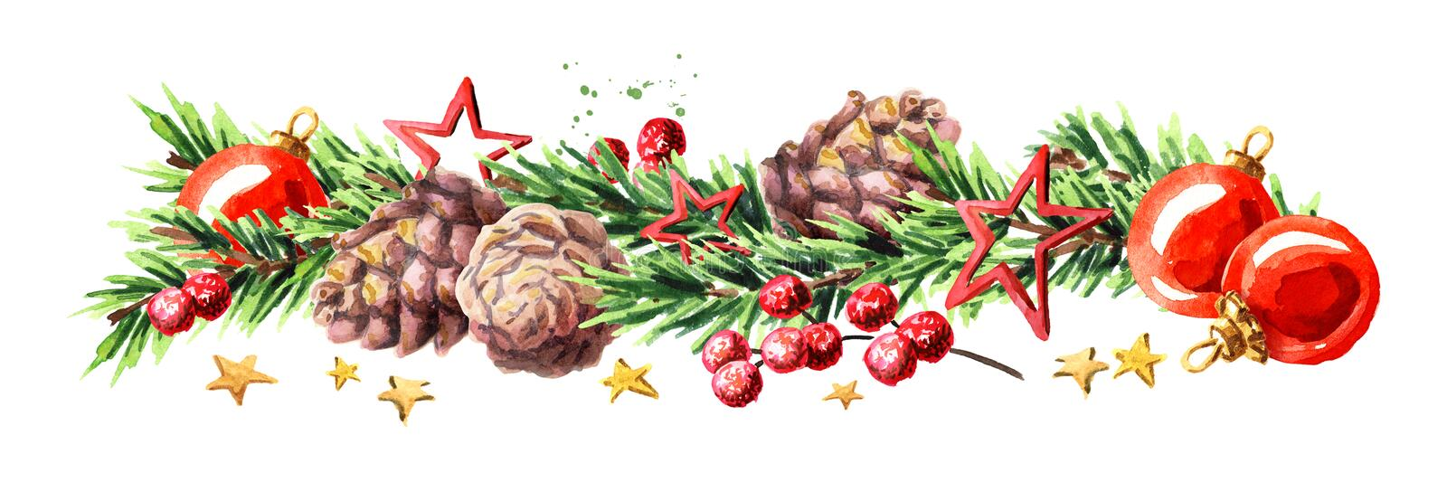 Christmas border with fir branches, red baubles, pine cones and stars. Watercolor hand drawn illustration, isolated on white backg stock illustration