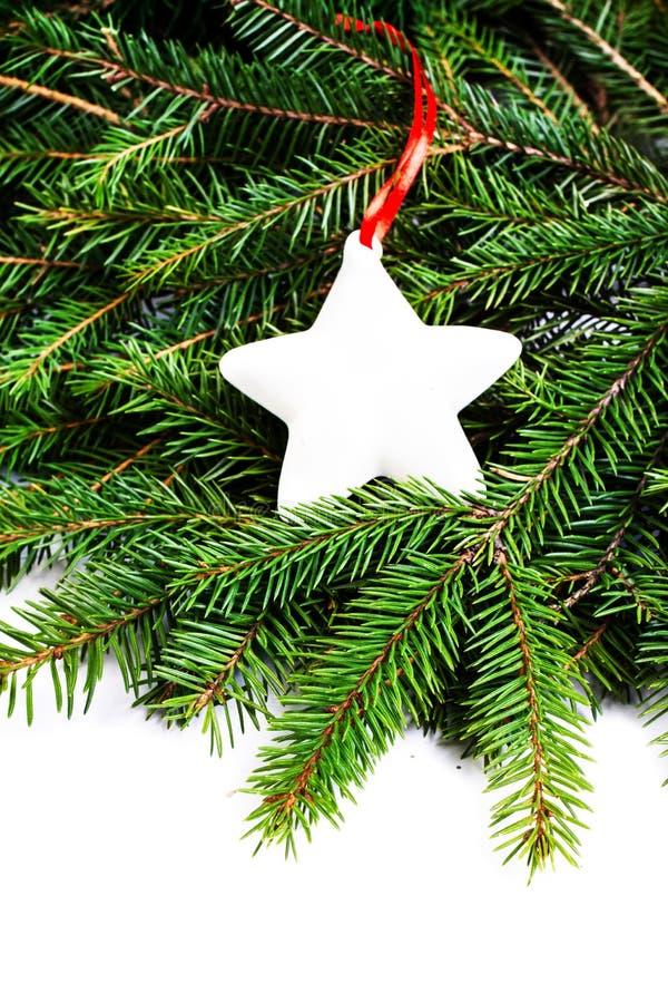 Christmas Border with Fir Tree Branch and Christmas ornaments i stock image