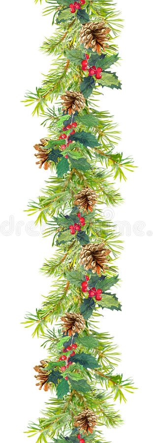 Christmas border - fir tree branches with cones and mistletoe. Watercolor frame stock image