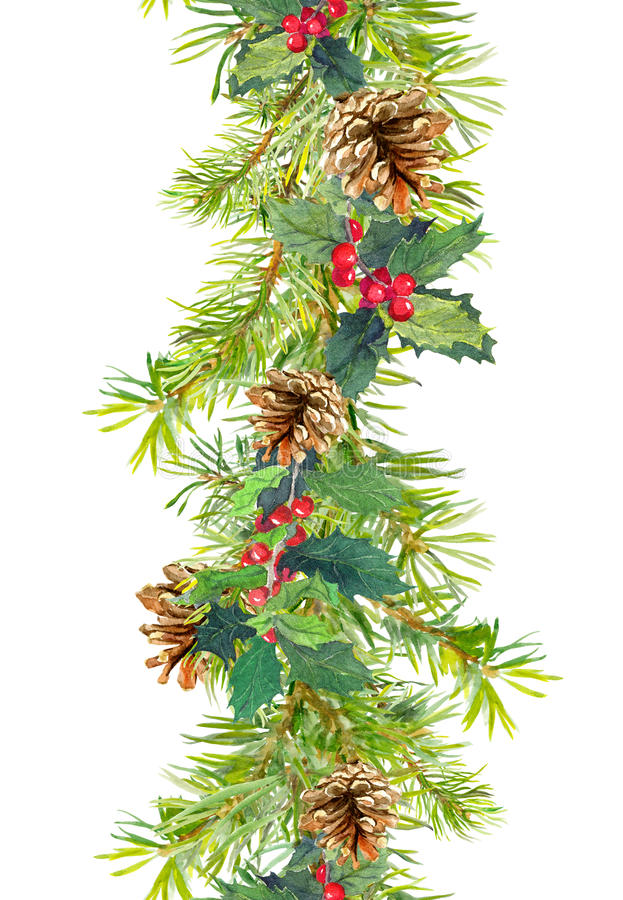 Christmas border - fir tree branches with cones and mistletoe. Watercolor strip stock photo