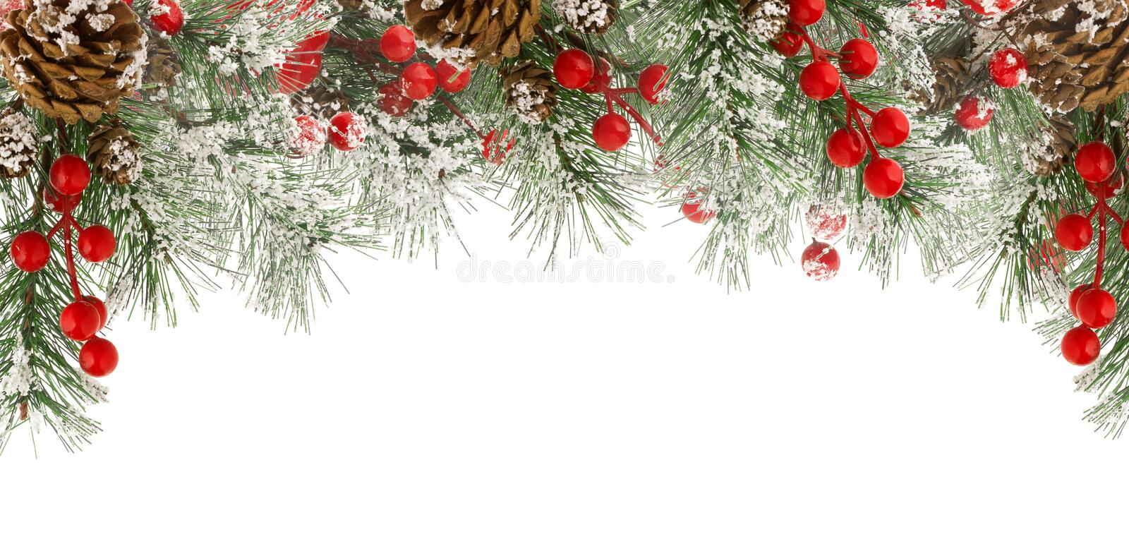 Christmas border of green fir branches with snow, red berries and cones isolated on white royalty free stock photo