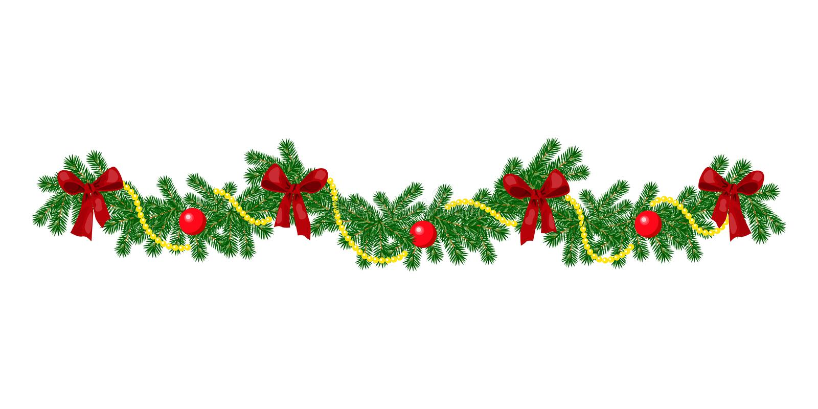 Christmas border with hanging garland of fir branches, red and silver baubles, pine cones and other ornaments royalty free stock images