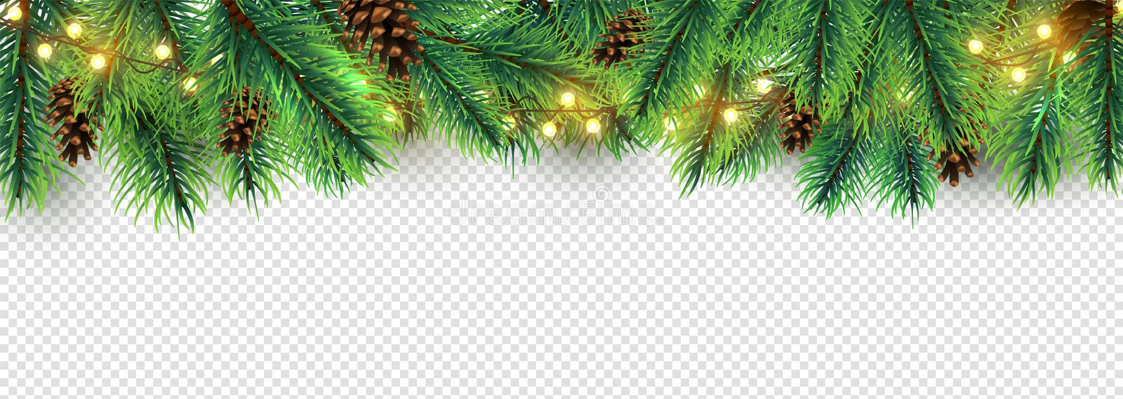 Christmas border. Holiday garland isolated on transparent background. Vector Christmas tree branches, lights and cones. Festive banner design. Christmas branch stock illustration