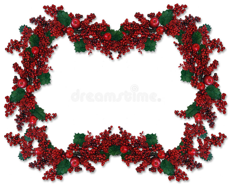 Christmas Border Holly Berry stock illustration