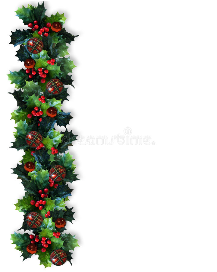Christmas border holly garland stock illustration
