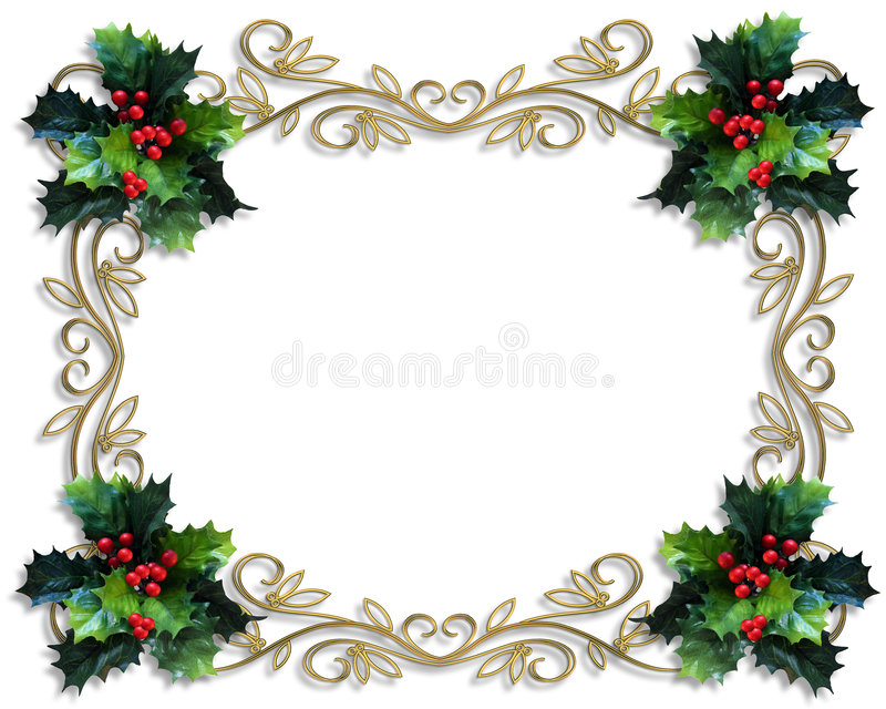 Christmas Border Holly gold frame vector illustration