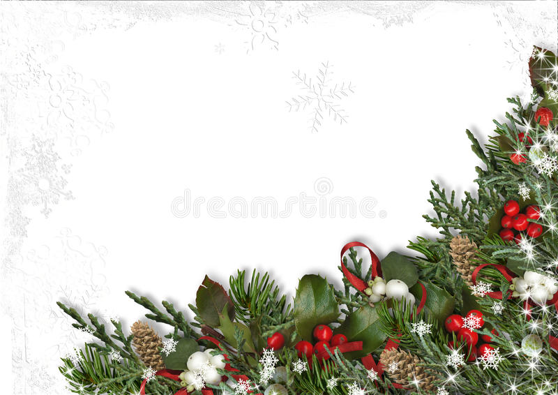 Christmas border of holly, mistletoe, cones over white background. royalty free illustration