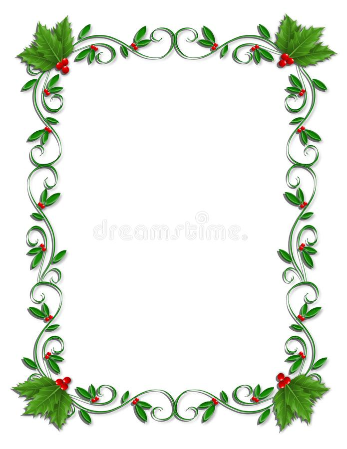 Christmas Border Holly ornamental. Christmas holly and berries design element for greeting card border, Holiday invitation frame or ornamental letter border with royalty free illustration