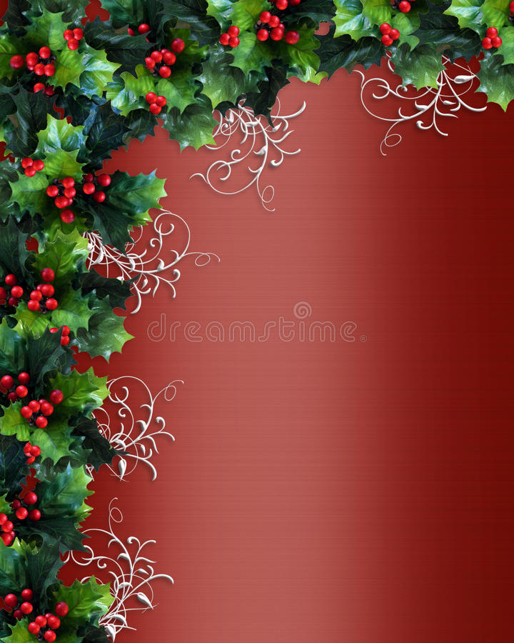 Christmas border holly red satin stock images