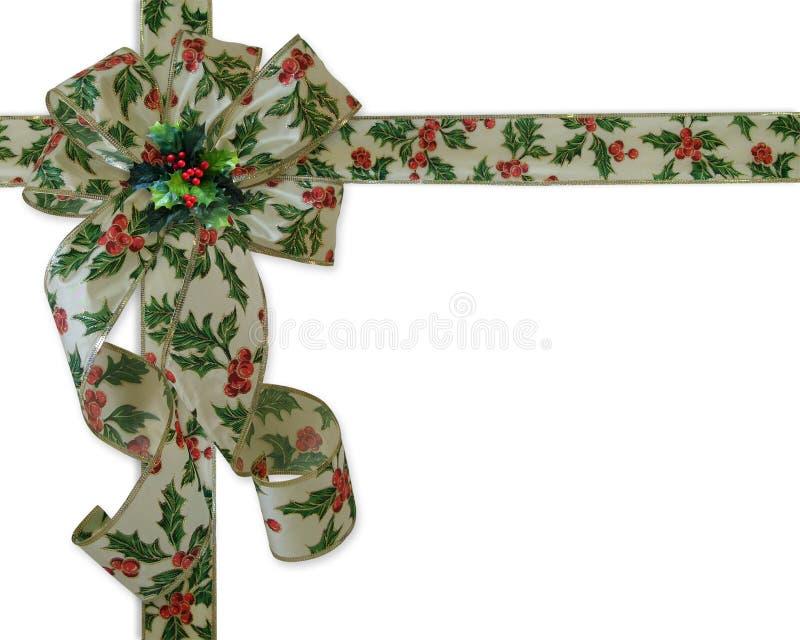 Christmas Border Holly Ribbon And Bow Stock Photo