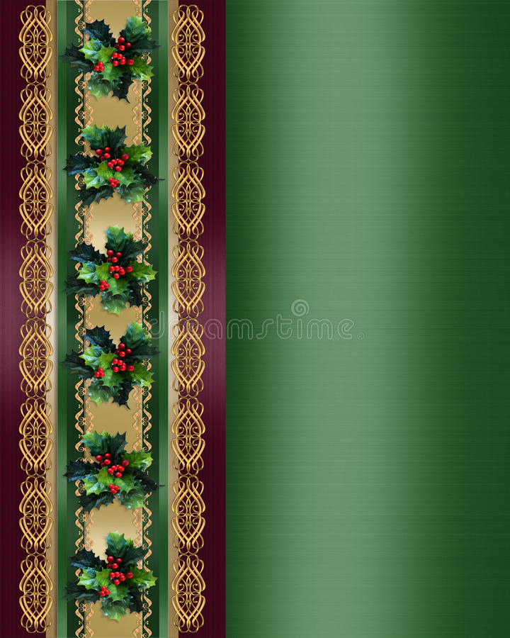 Download Christmas Border Holly And Ribbon Elegant Stock Illustration - Illustration: 11366816