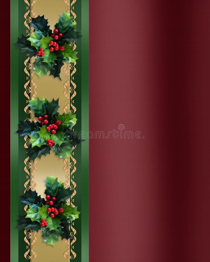 Download Christmas Border Holly And Ribbon Elegant Stock Illustration - Image: 11366820