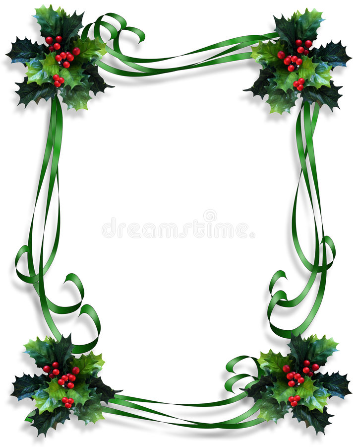 Christmas Border Holly and ribbons frame vector illustration