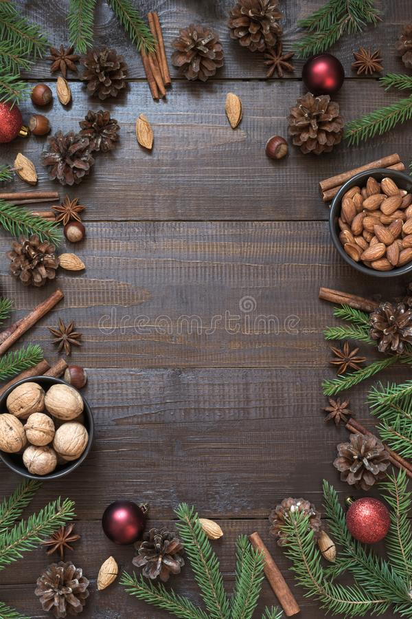 Christmas border with ingredient for cooking holiday food with copy space. New Year background stock photos