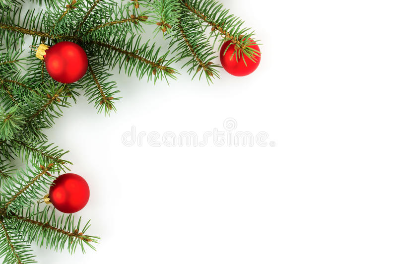 Christmas border. Isolated on white background royalty free stock image